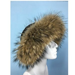 Accessories - Fox Fur and Black Leather Roller Hat